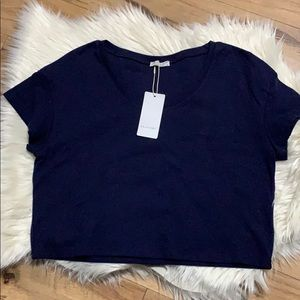 Ekouaer Navy Blue Crop Top NEW with tags.